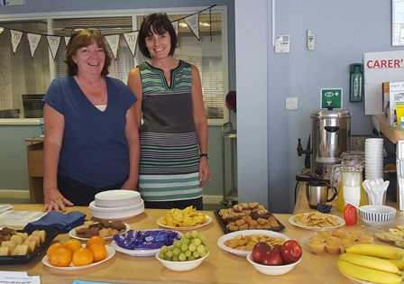 Ladies at the Carer's Event at a refreshments area